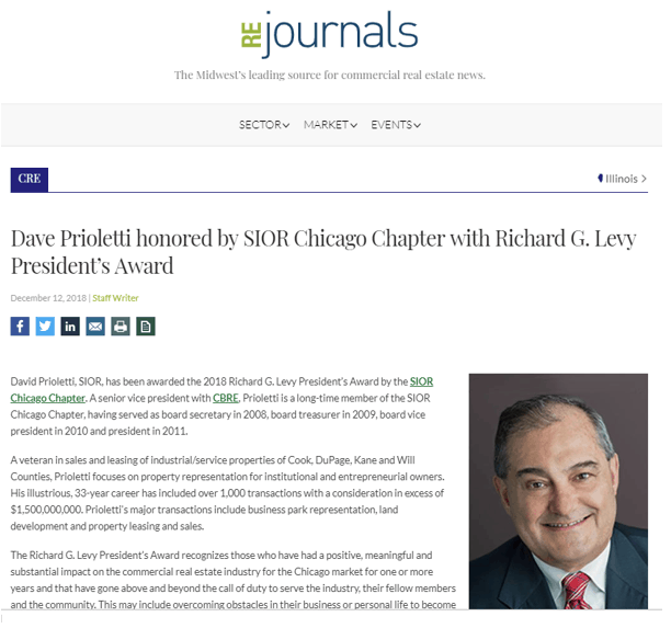 Dave Prioletti honored by SIOR Chicago Chapter with Richard G. Levy President's Award